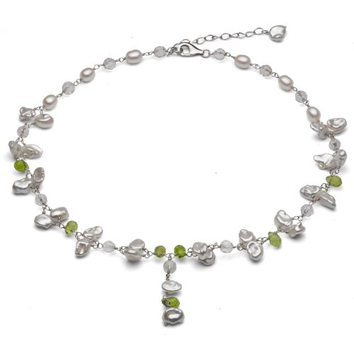 Sterling Silver 5-6mm Baroque Freshwater Pearl with 4-5mm White and Green Gemstones Y-Necklace 16