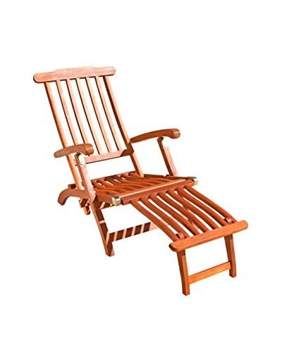 Vifah Outdoor Wood Steamer Lounge Chair, Tan