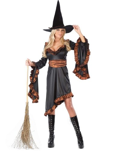 Classic Witch Costume Women's Black and Orange Ruffle Witch Theatre Costumes