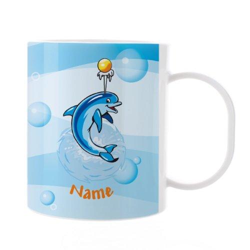 Striefchen-Kinder-Tasse-aus-Melamin-mit-Wunschnamen-Motiv-Delphin