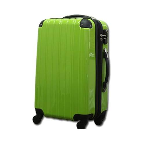 ダブルファスナー機能搭載 【MOA(モア)スーツケース】ジッパー四輪鏡面6230 (Fサイズ22インチ(3~5泊目安), イエローグリーン)