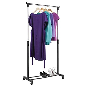 tidy garment clothes hanging rail with shoe storage shelf. Black Bedroom Furniture Sets. Home Design Ideas