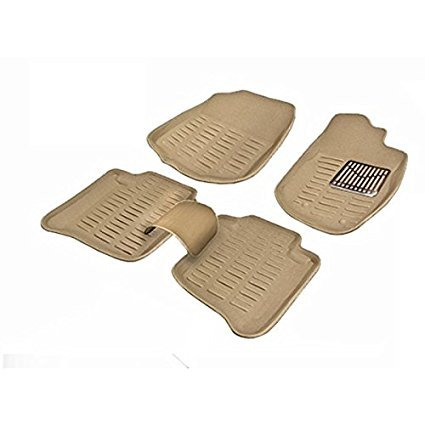 One Touch Tech 3D Car Foot Mat {Beige} Floor Mats and Wooden Key Chain of One Touch Tech Logo for Toyota Fortuner