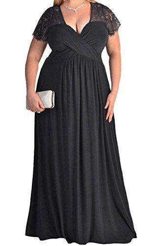 YFFaye Women's Black Lace Yoke Ruched Twist High Waist Plus Size Gown (Fashion Bug Plus Size)
