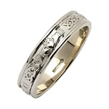 buy Ladies Silver Narrow Rounded Claddagh Irish Wedding Ring - Size 8