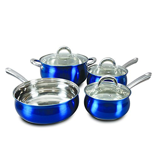Oster 7 Piece Verdone Cookware Set with Metallic Blue Exterior, Stainless Steel