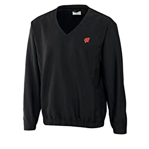 NCAA Mens Wisconsin Badgers Black Windtec Astute V-Neck Windshirt by Cutter & Buck