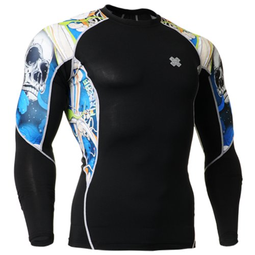 Fixgear Mens Womens Skin Tight Skull Printed Compression Gear Long Sleeve S ~ 2XL