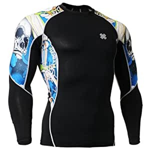 Fixgear Mens Womens Skin Tight Skull Printed Compression Gear Long Sleeve S