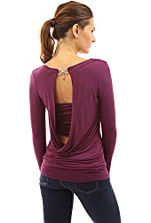 PattyBoutik Women's Cowl Neck Faux Crystal Backless Top
