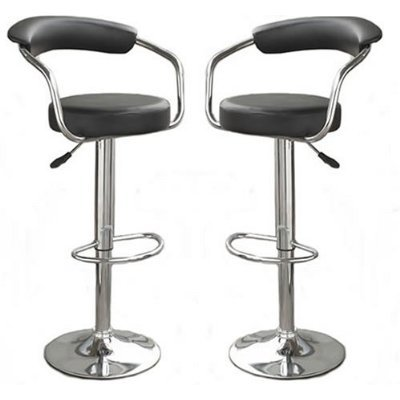 2 Leather Barstools Black Faux Leather Telford