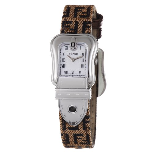 Fendi B. Fendi Ladies Brown Fabric Leather Strap Mother of Pearl Dial Watch F371242F