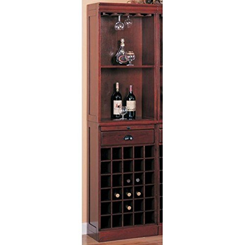 Coaster Lambert Traditional Wine Wall Bar Unit in Cherry (Each unit sold separately - 3 units pictured). (Bar Hutch compare prices)