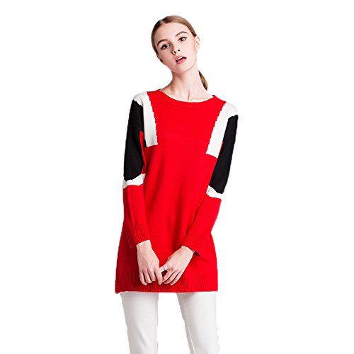 Whats Up Women's Color Block Knitted Loose Long Sleeve Sweater Dress Plus Size