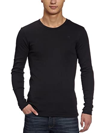 G-Star Men's Base R T 1P Crew Neck Long Sleeve Top, Black, Small
