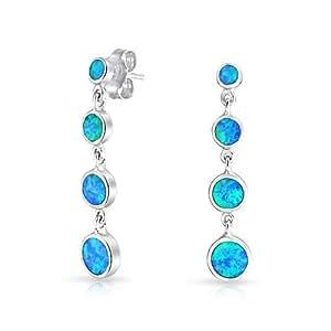 Bling Jewelry 925 Silver Graduated Bezel Synthetic Blue Opal Inlay Drop Earrings