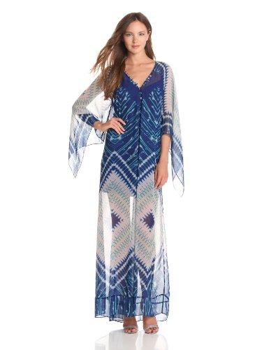 BCBGMAXAZRIA Women's Izabel Printed Maxi Dress, Dark Regal Blue, Small