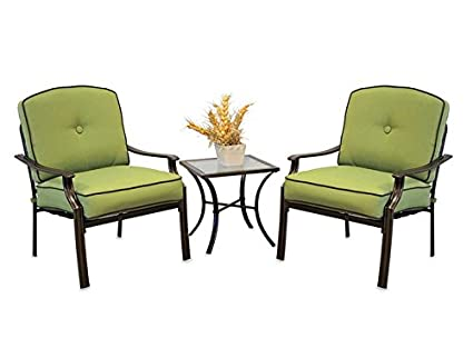 Modern 3 Piece Deep Seating Chair Set | Outdoor Patio Furniture (Lime)