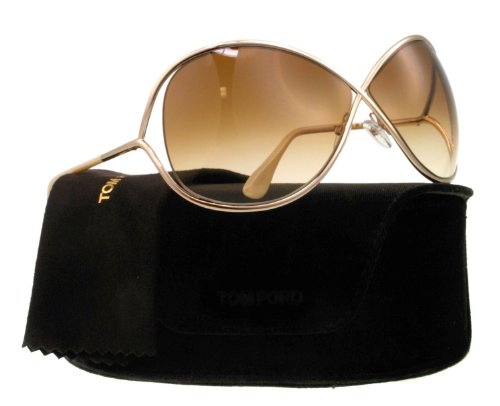 TOM FORD FT0130 Miranda Sunglasses Shiny Rose Gold/Gradient Brown (28F) TF130 28F Authentic
