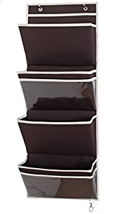 Misslo Mail Organizer Wall Mount Over the Door Magazine Storage (4 Pockets, Coffee)