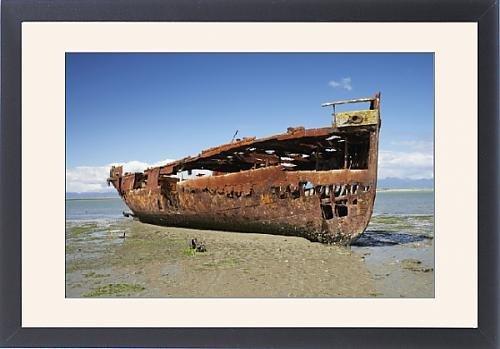 Framed Print of Janie Seddon Shipwreck, Motueka, Nelson Region, South Island, New Zealand