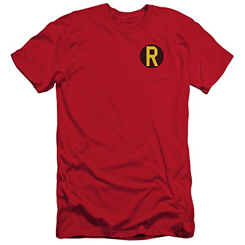 Batman DC Comics Superhero Robin Costume R Logo Adult Slim T-Shirt Tee