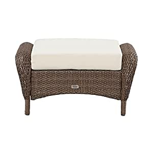 Martha Stewart Living Charlottetown Brown All Weather Wicker Patio Ottoman With