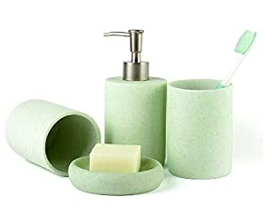 Bathroom Accessory Sets Upscale Light Green Home Decor Resin