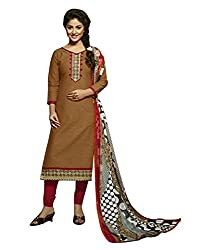 Rudra Textile Women's Brown Cotton Churidar Suit