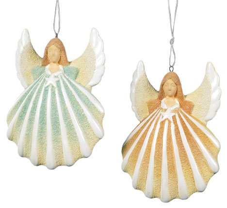 Decorate your christmas tree with angels for Christmas tree ornaments made from seashells