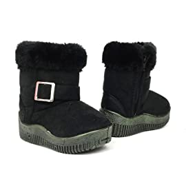 Baby Infant Girls Winter Faux Fur Suede Buckle Boots Black , 4-12