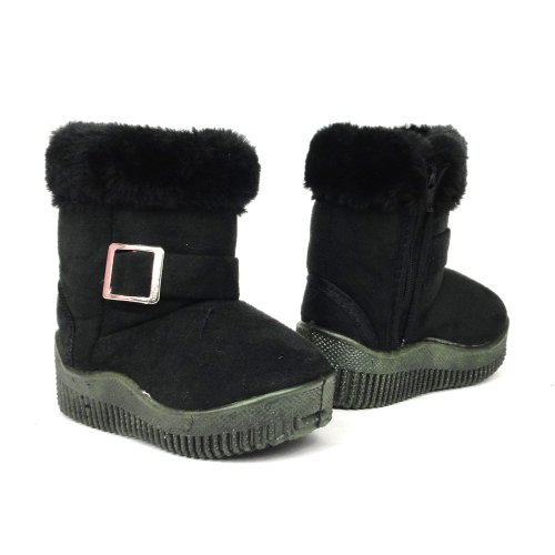 Baby Infant Girls Winter Faux Fur Suede Buckle Boots Black , 7