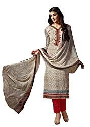 Aarushi Fashion Beige Colored Pure Lawn Cambric Printed Suit.