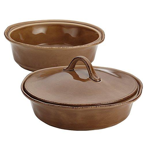 Rachael Ray 3-Piece Cucina Stoneware Round Baker and Lid Set, Mushroom Brown (2)