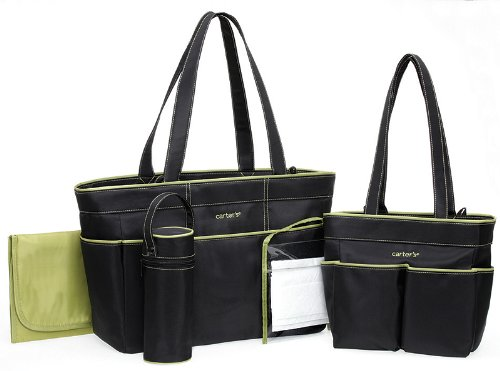 Carter's 5 Piece Diaper Bag Set - Black/Sage