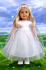 Little Angel - White satin and tule first communion dress for american girl dolls with long gloves, veil and white shoes - 18 Inch Doll Clothes
