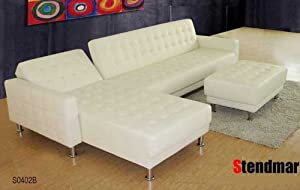 3PC NEW DESIGN WHITE LEATHER SECTIONAL SOFA KING BED S0402B