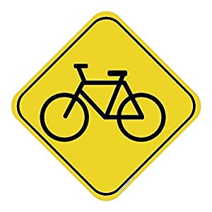 Bicycle Safety Yellow Sign, Includes Holes, 3M Quality Reflective, Aluminum, Made in USA, Safety