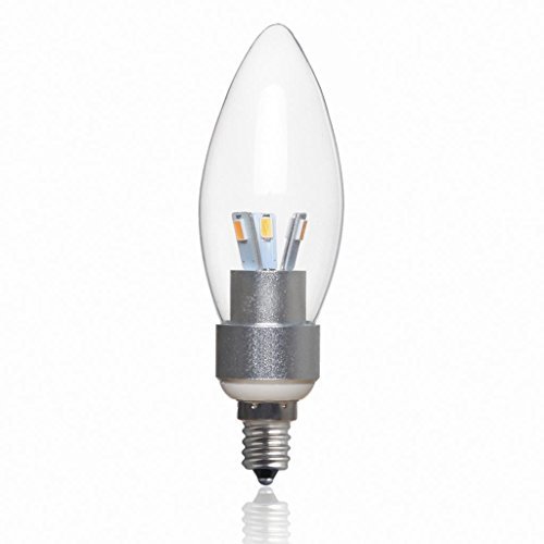 Golden Sun Dimmable 4W Chandelier Led Bullet Tip Bulb, Clear Glass Lens Silver Housing, 40 Watt Equivalent, E12 Candelabra Base, Sexy Led Design, 2700K Warm White