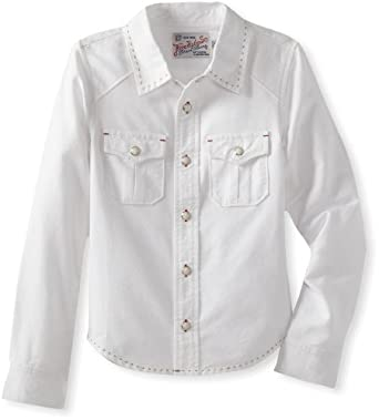 True Religion Little Boys' Branded Oxford Workwear Shirt, White, Small