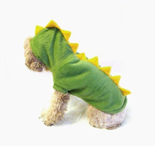 Dogs Cat Pets Jumpsuit Crocodile Clothes Godzilla Apparel Dragon T-rex Dinosaur Raptor Plush Costumes T Shirt Green / Red (Green, Medium)