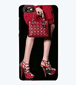 Printvisa Premium Back Cover Lady In Red With A Bag Design For Huawei Honor 4C::Huawei G Play Mini