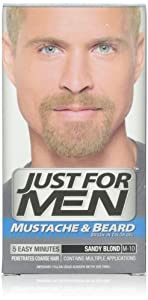 Just for Men Brush-In Color Gel for Mustache, Beard & Sideburns, Sandy Blond, 1 color gel, (Pack of 3)