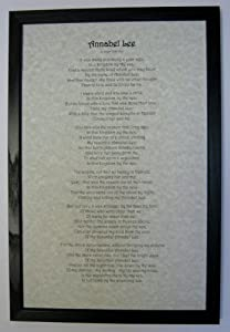 Annabel Lee Poem Printed on 11 X 17 Parchment Paper in Solid Black Frame