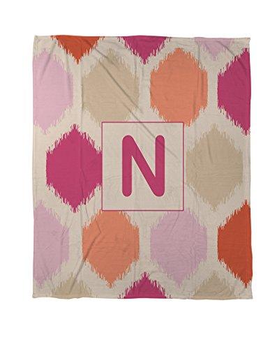 Thumbprintz Duvet Cover, Queen/Full, Monogrammed Letter N, Pink Batik front-839293