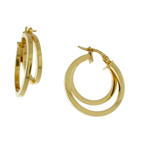 Sterling silver 14 karat Gold Plated, Square tubing, two circle hoop earring