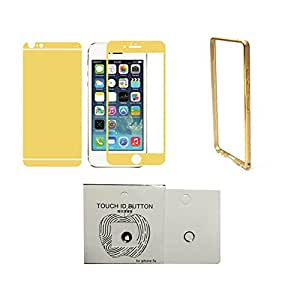 Gold tempered glass+bumper case + Home button ring for Iphone4/4s