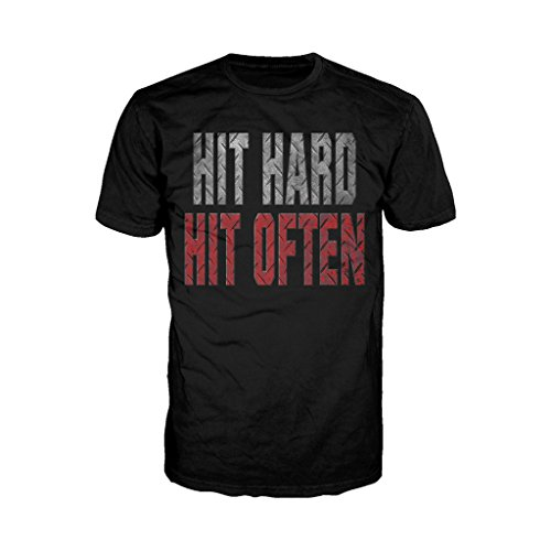 WWE Roman Reigns Verbage Hit Hard Official Men's T-Shirt (Black) (XX-Large)