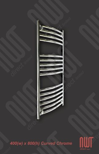 400 x 800 Heated Towel Rail Curved Chrome 1140 BTU's Bathroom Central Heating Warmer Radiator Holder Rack