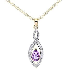 Pendentif - Femme - Or jaune (9 carats) 0.93 Gr - Diamant - Améthyste 0.4 Cts